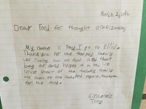 Ellis Elementary Child Letter